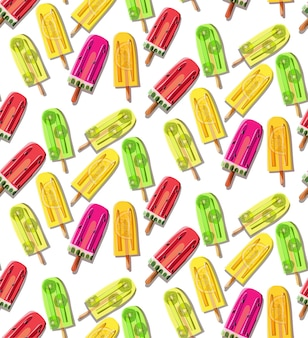 Pattern of bright colorful fresh yellow green red frozen juice lemon