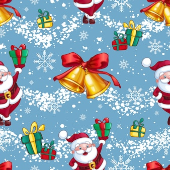Pattern bright festive christmas or new year . santa claus with gifts, golden christmas bells and snowflakes.