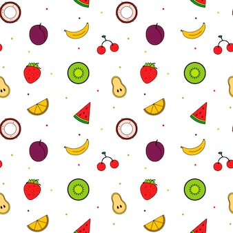 Pattern of bright modern line art fruits. summer color