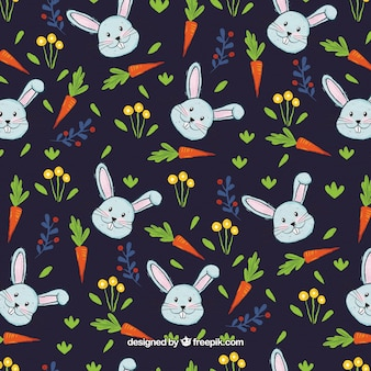 Pattern of bunnies and watercolor carrots