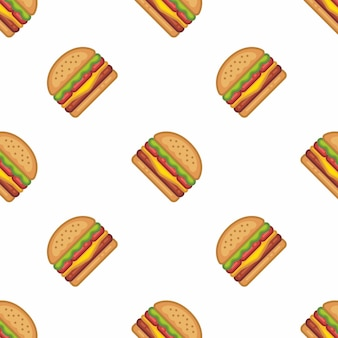 Pattern of burger in flat style