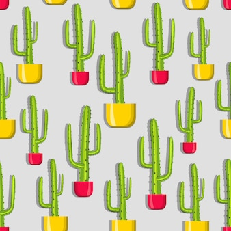 Pattern of cacti in yellow and red pots.