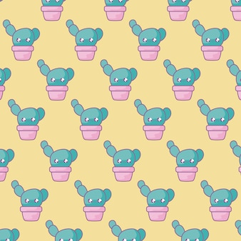Pattern of cactus tropicals in pot plant kawaii style