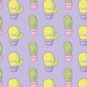 Pattern of cactus tropicals in pot plants kawaii style