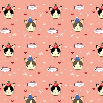 Pattern of cat , fish and heart on pink background
