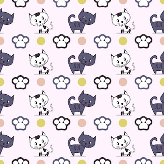 Pattern of cats and paws