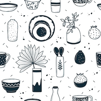 Pattern of ceramic utensils. in cartoon doodle style. hand-drawn illustration in black and white
