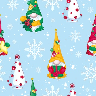 Pattern for christmas. christmas gnomes with gifts