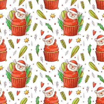 Pattern of christmas cupcake with cartoon santa. kawaii cupcake with red cream. cupcake with leaves, branches, bead
