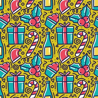 Pattern of christmas day hand drawing with icons and design elements