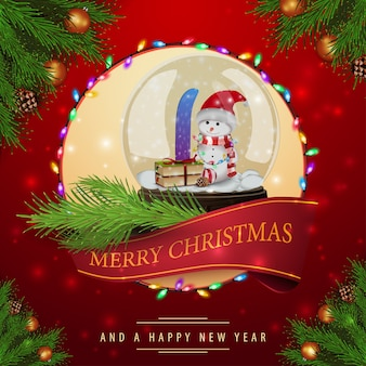 Pattern of christmas red cards with snow globe with snowman