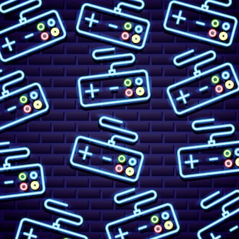 Pattern of classic video game controls in neon line style Free Vector