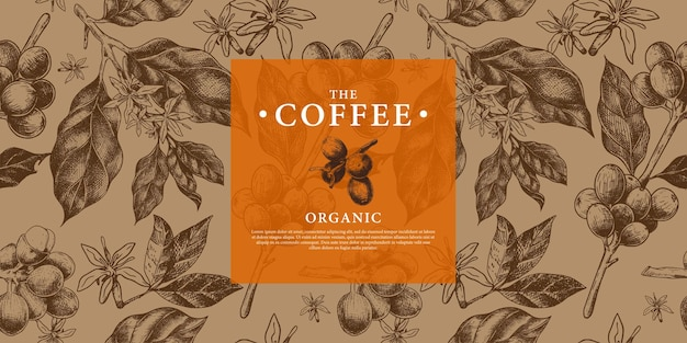 Pattern coffee branch, beans, and flower in hand drawing style template for background cover packaging brand coffee