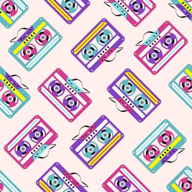 Pattern of collection of colorful plastic audio cassette tapes.