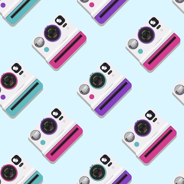 Pattern of collection of colorful polaroid cameras