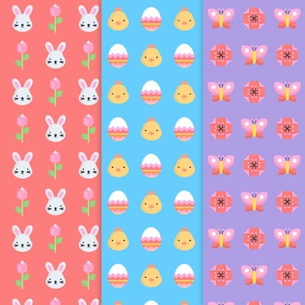 Pattern collection for easter day with bunnies
