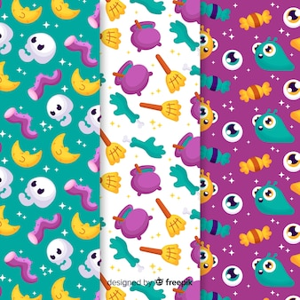Pattern collection of flat halloween with spooky creatures