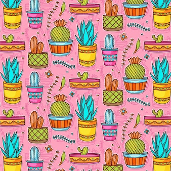 Pattern of colorful cactus