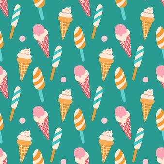 Узор разноцветное мороженое на палочке и в вафельном рожке с ягодами на зеленом фоне