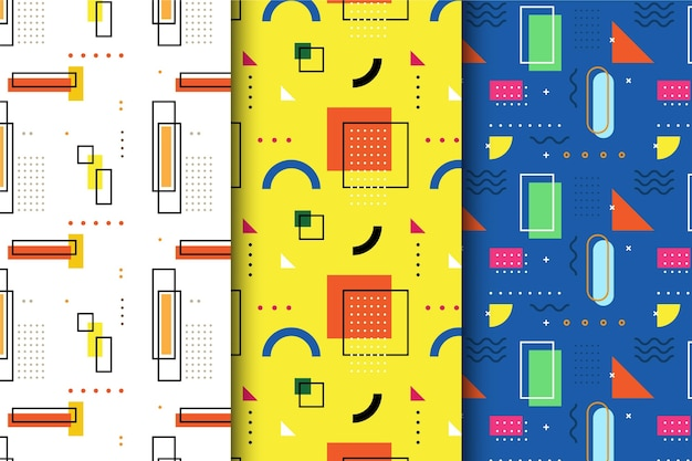 Pattern colorful memphis pack Free Vector