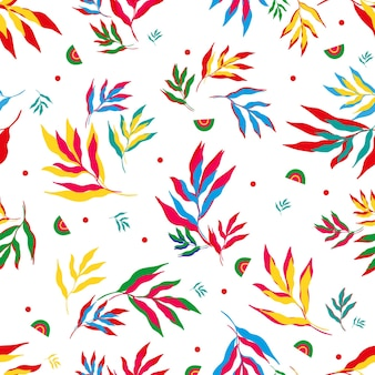 Pattern of colorful tropical leavesvector