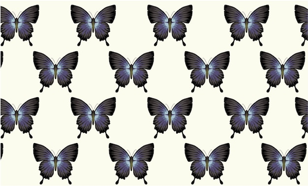 Pattern composed of blue and black butterflies vintage wallpaper style