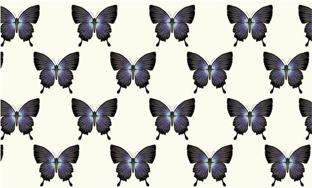 Узор из синих и черных бабочек в стиле винтажных обоев