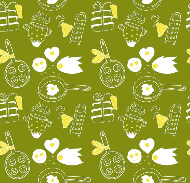 Pattern for cooking concept. doodle hand drawn elements on green background.