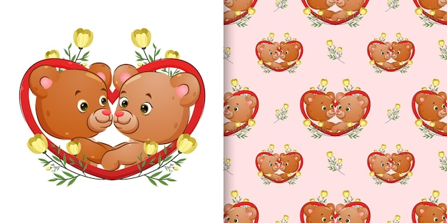 Pattern  of the couple bear are posing on the love frame with the flowers ornament