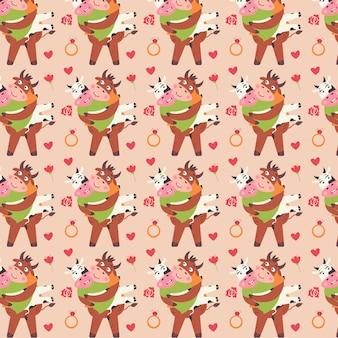 암소를 들고 사랑 황소에 패턴 커플입니다. 귀여운 동물들이 있는 발렌타인 데이 디지털 종이. 연인을 위한 어린이용 반복 가능한 선물 포장. 베이지색 배경에 벡터 휴가 인쇄