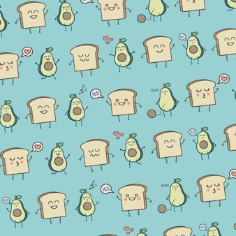 Pattern cute avocados and toast breakfast
