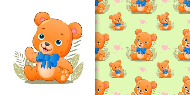 Pattern  of the cute baby bear is wearing the big ribbon