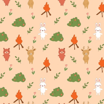 Pattern of cute bear, rabbit and deer in woodlands