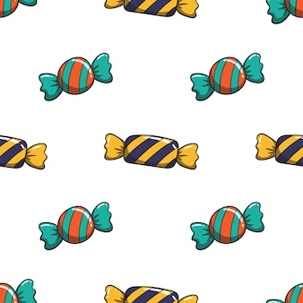 Pattern of cute candy with colored style