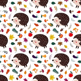 Pattern of cute cartoon hedgehogs among autumn leaves and fruits with mushrooms on white backdrop