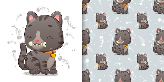 The pattern of a cute cat is eating a bone fish with a very happy face of illustration