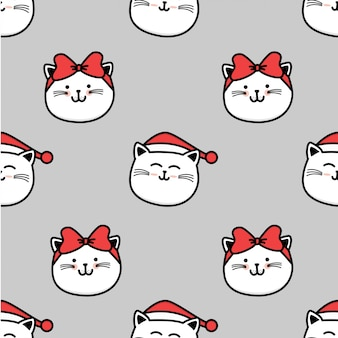 Pattern cute cat winter christmas