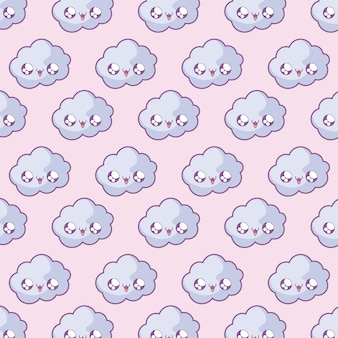 Pattern of cute clouds kawaii style