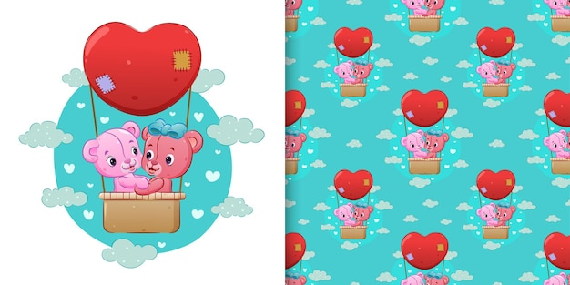 Pattern  of the cute couple teddy bear flying with gas balloon in the sky