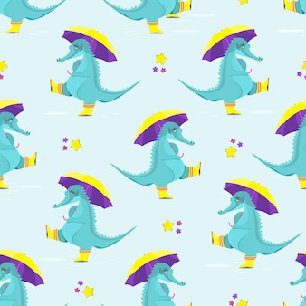 Pattern of cute crocodiles in rubber boots  with an umbrella flat vector illustration