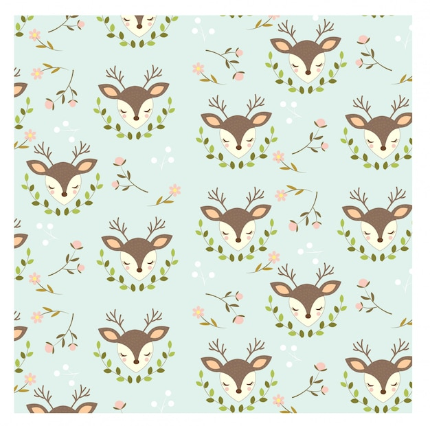 Pattern of cute deer  and flowers on blue background