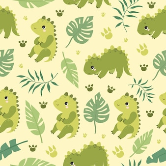 Pattern cute dinosaurs and palm leaves