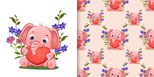 Pattern  of the cute elephant is holding the love doll in the flowers garden