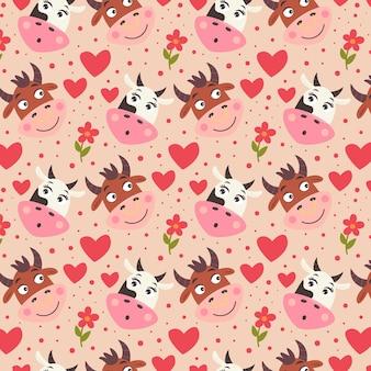꽃과 마음으로 암소 황소의 패턴 귀여운 얼굴. 귀여운 동물들이 있는 발렌타인 데이 디지털 종이. 연인을 위한 어린이용 반복 가능한 선물 포장. 베이지색 배경에 벡터 휴가 인쇄