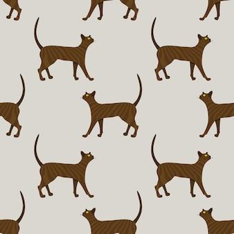 Pattern of cute ginger cat on beige background. illustration.