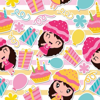Pattern of cute girl, birthday cake and gift on striped background