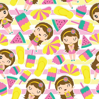 Pattern of cute girl and summer elements