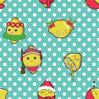 Pattern cute lemon cartoon charracter.