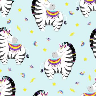 Pattern of cute little zebras. flat vector illustration.