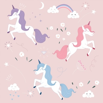 Pattern of cute magical unicorn.